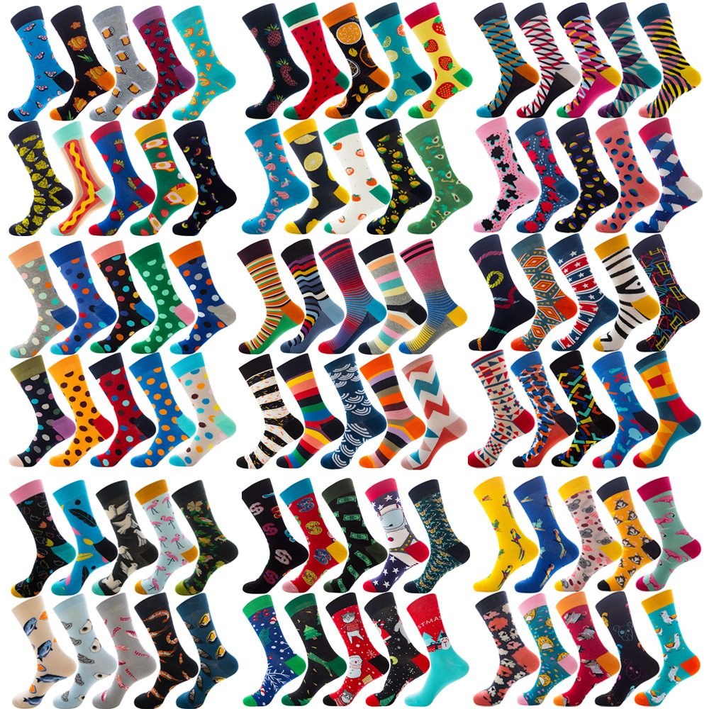 Big Size Colorful Cotton Socks Men Christmas Striped Dot Animal Fruit Food Casual Fashion Winter Crew Socks Funny Men Socks
