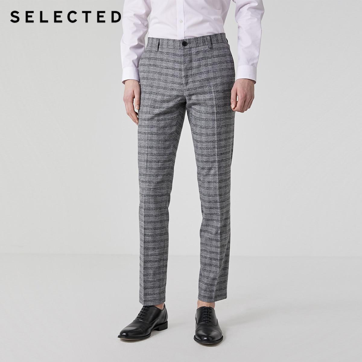 SELECTED Men's Summer Slim Straight Fit Plaid Suit Pants T|41926A504
