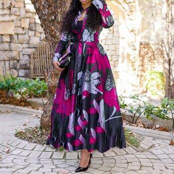 Women Vintage Floral Printed Long Sleeve Fall Dress Retro Plus Size Office Maxi Vestidos Elegant Ladies Party Long Shirt Dress 2