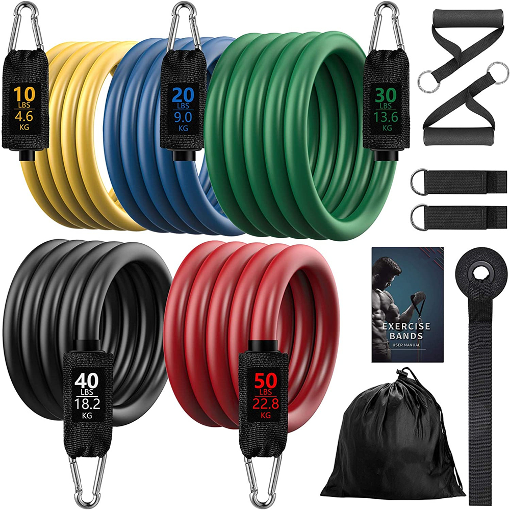 7/11/16pcs Fitness Resistance Band Yoga Workout Bands Pull Rope Exercise Training Expander Gym Equipment for Home Bodybuilding
