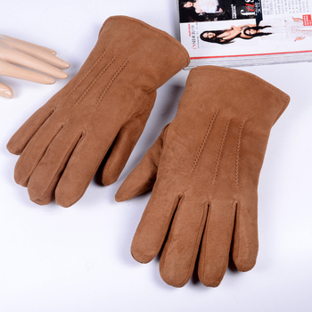 Men's Winter Super Warm Real Leather Gloves Fur lining Gloves Suede Leather Fur Gloves Outdoor Ski Gloves women s ladies 100% real leather sheep skin winter warm thick lining white gloves colorful blue cute outdoor short gloves