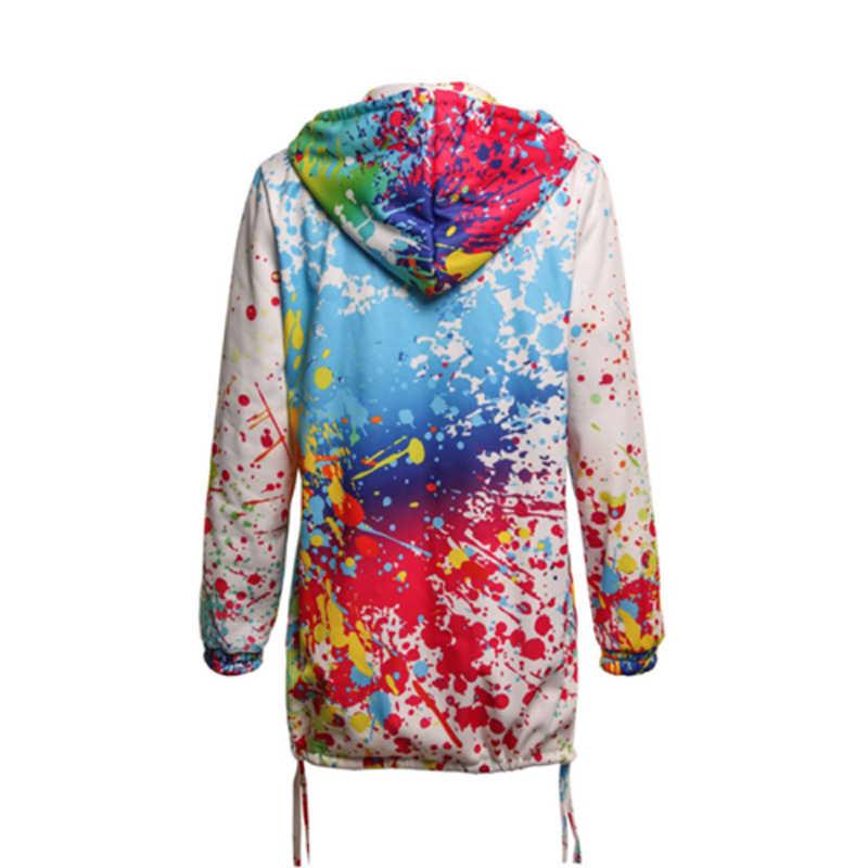Mode Öl Farbe Gedruckt Frauen Mit Kapuze Jacke 2019 Frauen Herbst Streetwear Bunte Gedruckt Hoodie Mäntel Femme Outwear