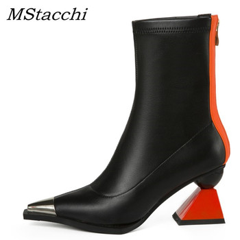 MStacchi New Women Ankle Boots Woman Metal Decorative Pointed Toe Strange Style Shoes Ladies Cow Leather Zip Botines Mujer 2019