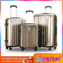 Vogvigo 3pcs/set High quality Hard ABS 20/24/28 inch size Rolling Luggage Spinner Black Travel Suitcase For Bussiness Men/Women