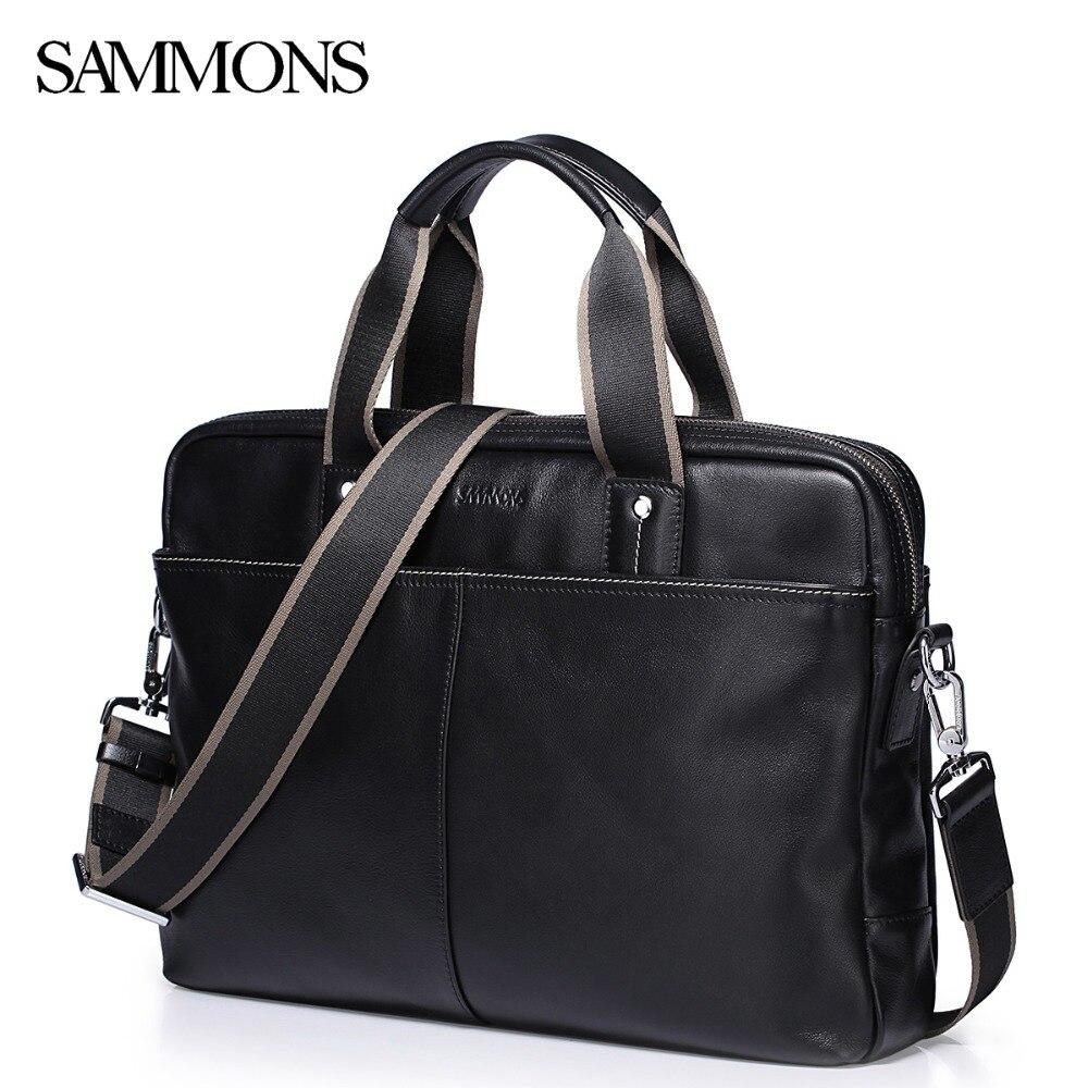 Sale!!! SAMMONS Men's Genuine Leather Briefcase Male Classical Leisure Cowhide Handbag Men Laptop Business Bags