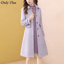 Woolen Coat Outerwear Female Purple Single-Breasted Long Winter Women Casual Slim Only-Plus