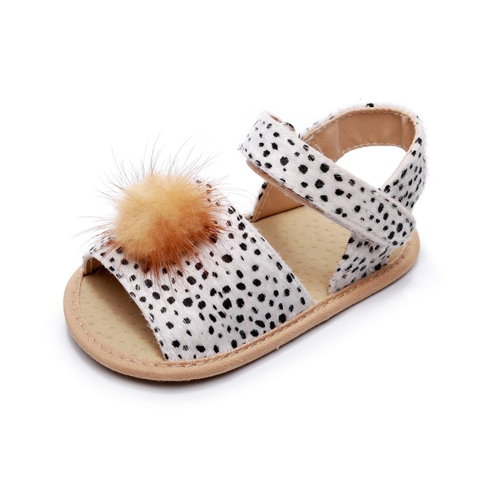 2020 Summer Leopard New Baby Girls Sandals Fashion Horse Hair PU Soft Sole Infant Toddler Girls Clogs  Baby Moccasins Baby Shoes