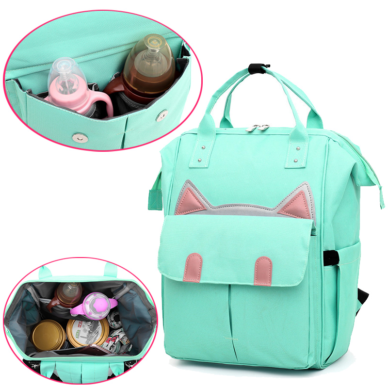 Upgraded Version Multi-Function Diaper Bags New Large-Capacity Cat Style Baby Bag Cartoon Cute Insulation Backpack For Mom