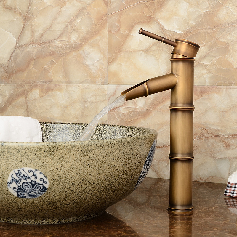 Hb6d899732b8b467aa89606fb2dc49045Q Bathroom Basin Faucet Antique Brass Bamboo Shape Faucet Bronze Finish Sink Faucet Single Handle Hot and Cold Water Mixer Tap