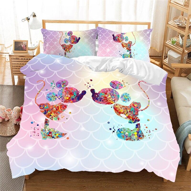 Disney Mickey Minnie Girls Bedding Set Lovely Couple Queen King Size Bed Set  Duvet Cover Pillow Case Comforter Bedding Set Gift