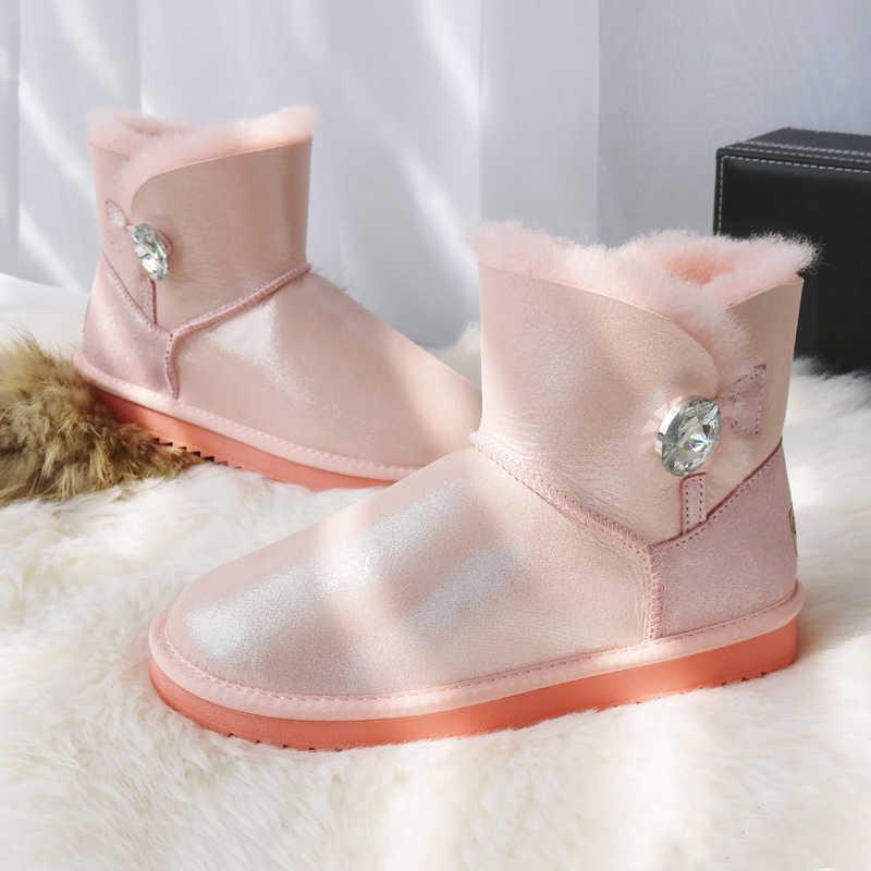 G & Zaco luksusowa oryginalna skóra owcza śniegowe buty damskie krótkie zimowe buty guzik owcze futro naturalne wełniane buty płaskie ciepłe buty