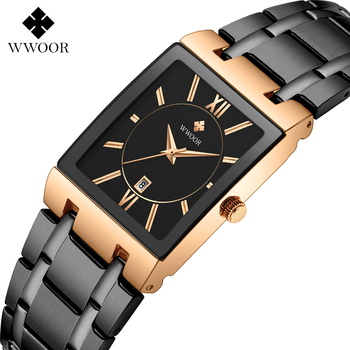 WWOOR Mens Rectangular Watches Top Brand Luxury Rose Gold Quartz Wrist Watch Male Full Steel Analog Date Business Watch With Box rontheedge quartz watch stainless steel band auto date diamond luxury business wristwatches male watches with gift box rzy025