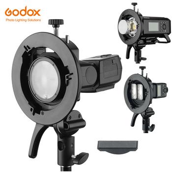 Godox S2 Bowens uchwyt lampy błyskowej typu S uchwyt do Godox V1 V860II AD200 AD400PRO TT600 Speedlite Flash Snoot Softbox siatka tanie i dobre opinie Fujifilm Sony Canon NIKON CN (pochodzenie)