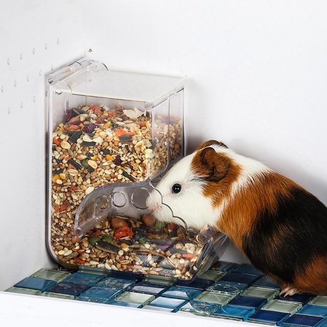 Pet Plastic Transparent Hamster Feeder Guinea Pig Food Bowl Container Can Squirrel Hedgehog Anti-flip Basin Automatic Feeder 2