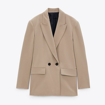 ZA 2020 Women Fashion Solid Color Casual Office Wear Suit Blazer Double Breasted Coats Long Sleeve Notched Collar Blazers Femme 1