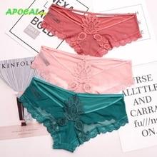 APOCAL Sexy Hollow Out Crochet Silk Lace Panties Net Underwear Women Elegance Seamless Sex Crotch Cotton Briefs Lingerie Tanga