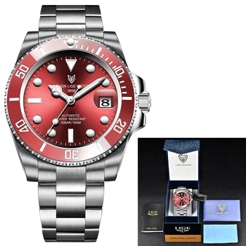 2021 Red Men Watches Top Brand Luxury Sapphire Watch Waterproof Automatic Mechanical Watch Mens Fashion Sport 316L Steel Clock 6