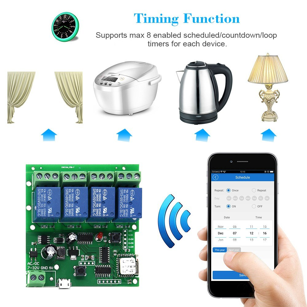 EWeLink Smart Remote Control Wireless Switch Universal Module 4CH DC 5-32V