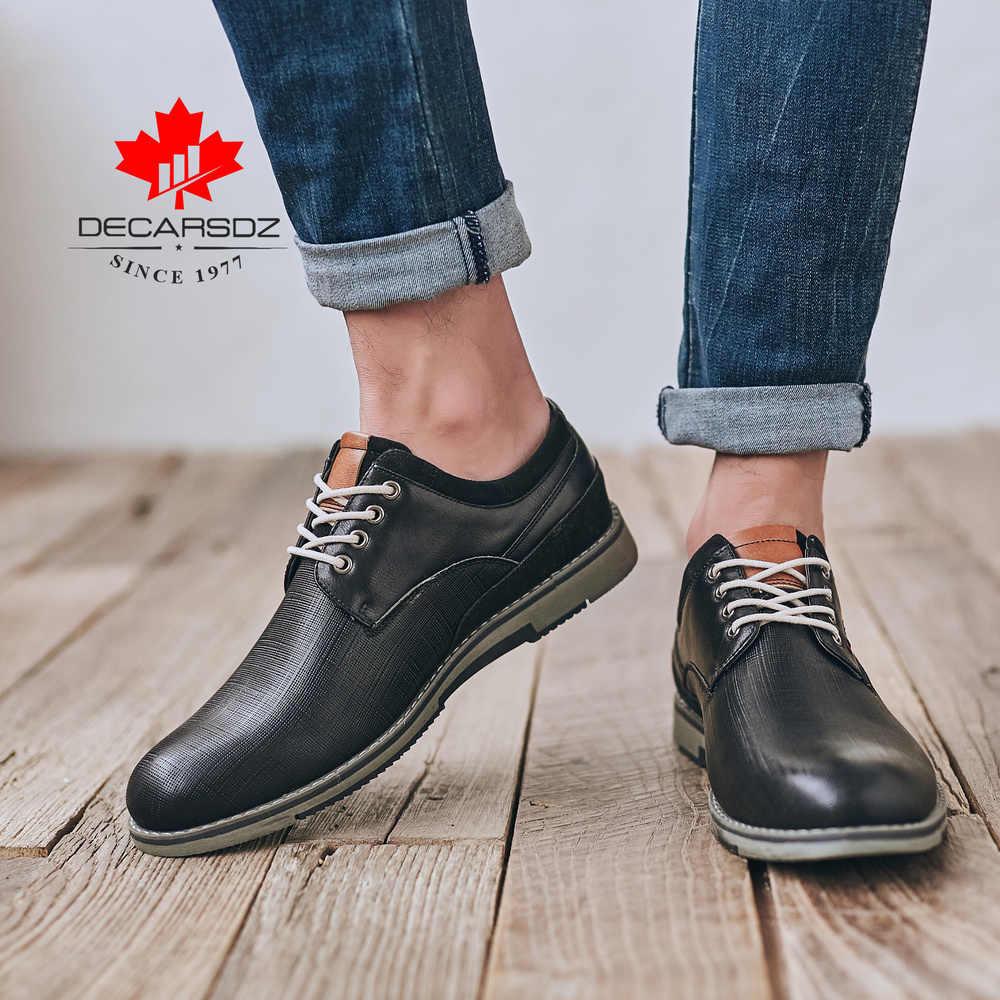 รองเท้าผู้ชาย 2019 ฤดูใบไม้ร่วงแฟชั่นเดินรองเท้าผู้ชาย LACE-up ยี่ห้อคาวบอยสไตล์ Brogue รองเท้าหนังใหม่ผู้ชายรองเท้า