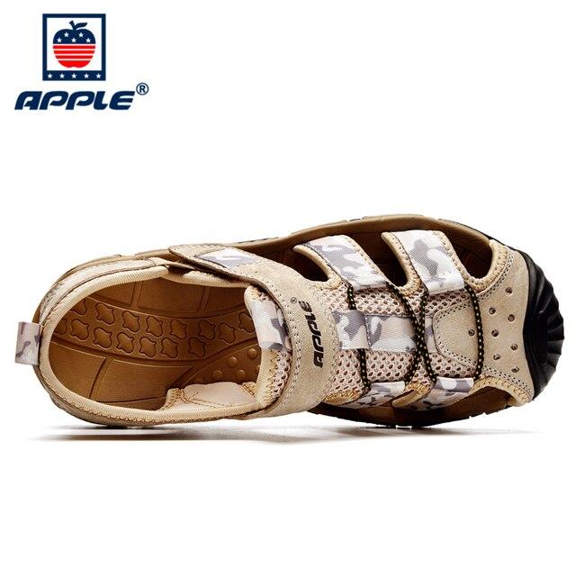 Фото apple 2020 высококачественные кожаные мягкие мужские сандалии