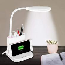 LED Desk Lamp,with USB Charging Port&Pen Holder,2 Color Modes&Stepless Dimming,360°Flexible Metal Hose,for Dorm,office,Bedroom
