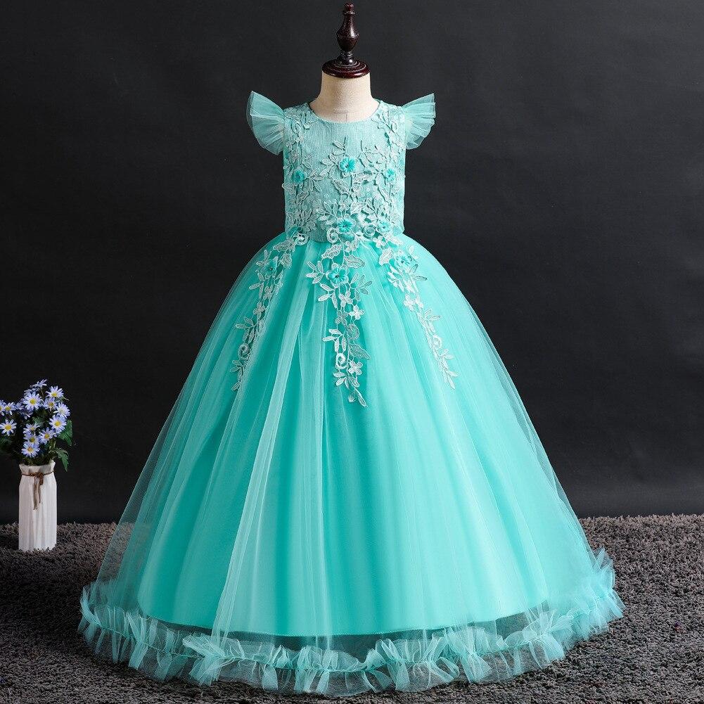 Europe And America Childrenswear Girls Solid Color Formal Dress Big Boy Petal Long Skirts Girls' Princess Skirt INS Children Shi