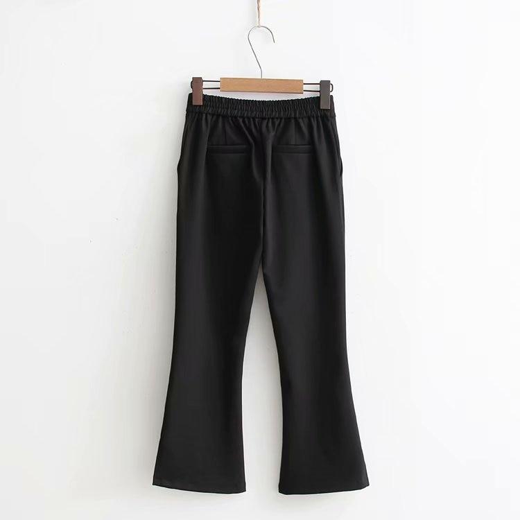 B2xh-Korean-style WOMEN'S Wear 2018 Autumn New Style High-waisted Slimming Slit Women's Weila Pants 7849