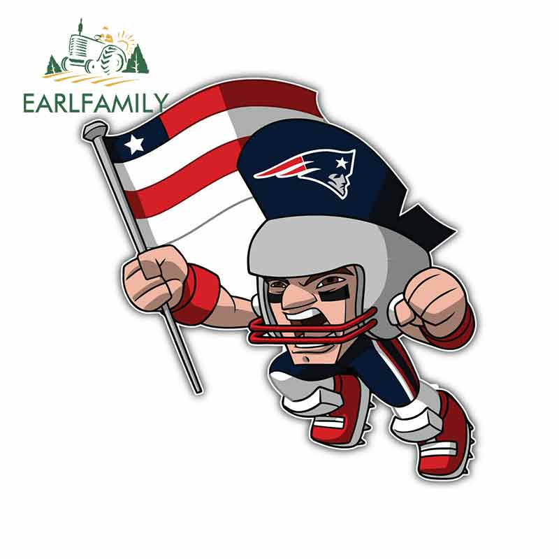 EARLFAMILY 13cm X 12.6cm For New England Patriots Man Creative Stickers Car Accessories Body For Car Vinyl Car Graffiti Stickers