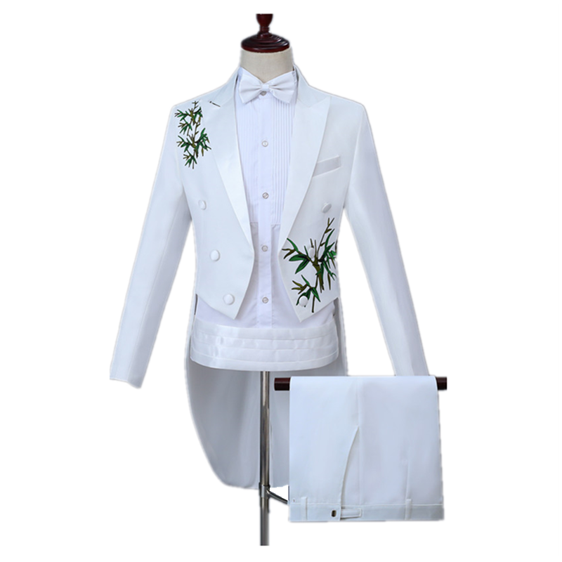 Men's Tuxedo Suit Set(Tail Jacket+Belt+Pant) Wedding Bridegroom Stage Singer Costume Slim Casual Lapel Bamboo Print White Tuxedo