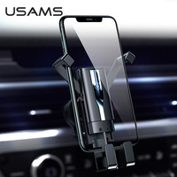 USAMS Phone Holder Stand Phone Car Holder Gravity Smartphone Holder Air Vent Clip Mount GPS Support For iphone Xiaomi Samsung Huawei