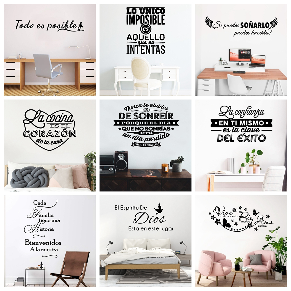 >Large Spanish Quotes Phrase Wall Decals Wallpaper Vinyl Stickers For <font><b>Office</b></font> Room Decal Wall Sticker Home <font><b>Decoration</b></font> Poster Mural