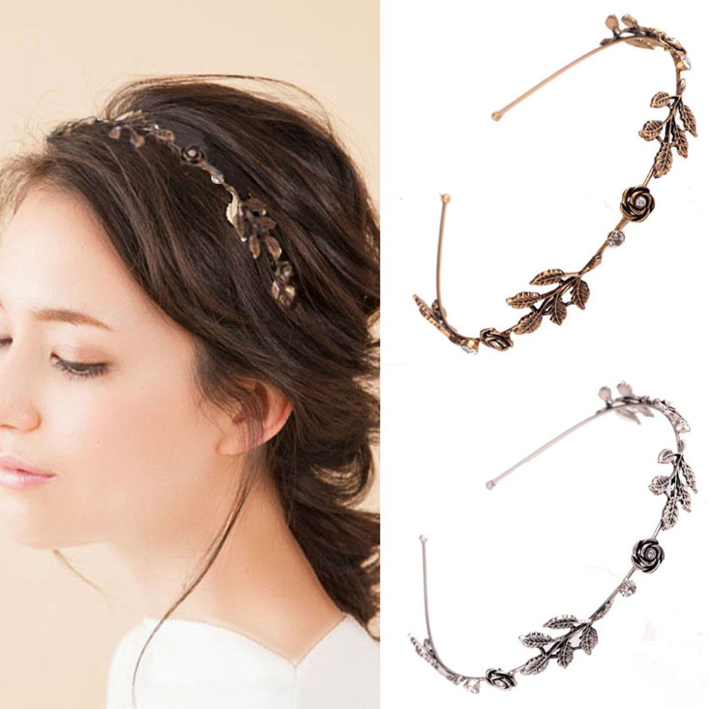 Women Vintage Rose Leaf Metal Headband Exquisite Shiny Rhinestone Hair Hoop Hairband Girls Fashion Jewelry