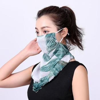 Women Floral Print Windproof Anti-UV Scarf Outdoor Sports Cycling Face Mask Silky Soft Wind-proof UV protection For outdoor