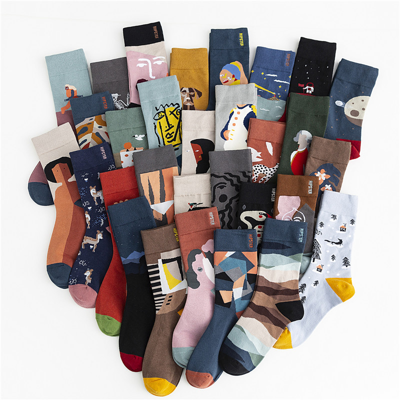 SP&CITYIns Unisex Graffiti Cotton Heap Socks Women Streetwear Hipster Ankle Socks Couples Hip Pop Casual Stockings Original Tide
