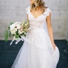 Винтажное белое свадебное платье es A-Line принцесса v-образным вырезом Длина пола без рукавов Кружева Тюль свадебное платье для невесты