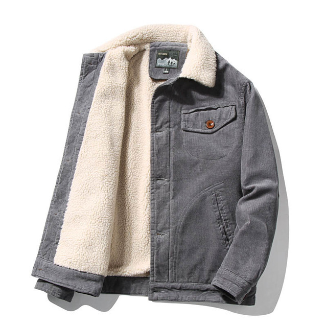 Mcikkny Men Warm Corduroy Jackets And Coats Fur Collar Winter Casual Jacket Outwear Male Thermal 3