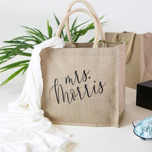 Персонализированная Свадебная сумка mrs «тоут» из мешковины-Свадебные вечерние пляжные сумки, Индивидуальная сумка-тоут с именем подружки н...