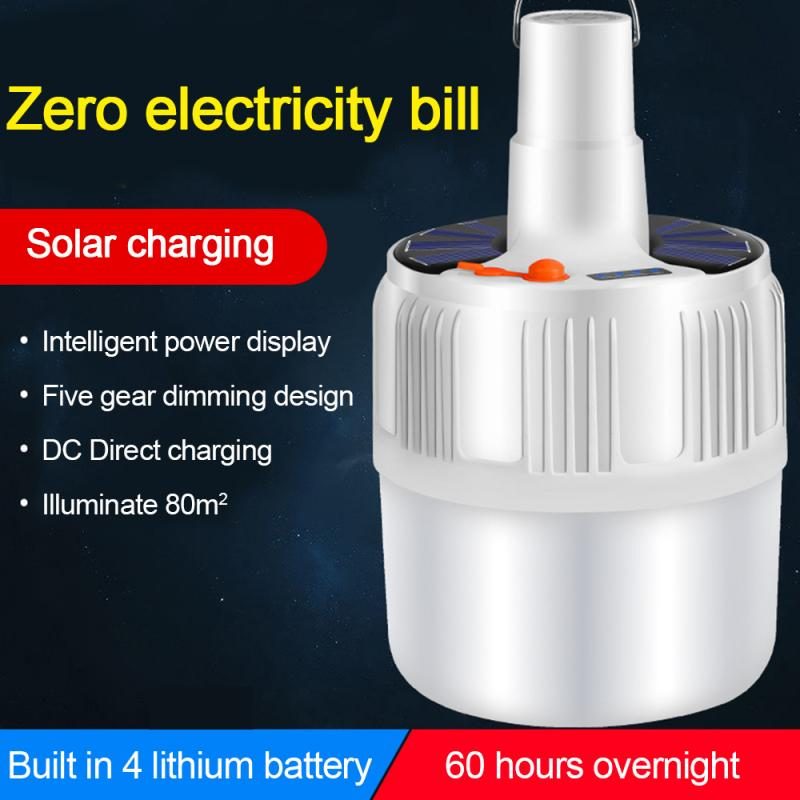 Solar LED Bulb Lamp Rechargeable Portable Camping Market Emergency Light