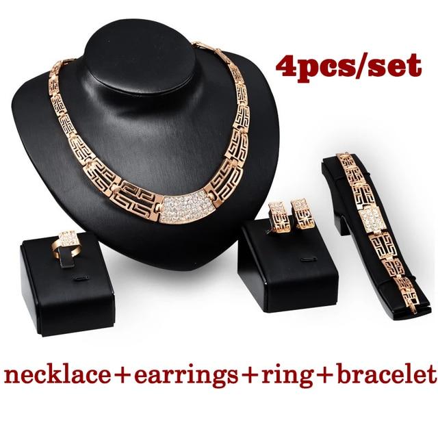 Conjunto de joyería para mujer, oro nuevo, Vintage, anillo circón cuadrado, Gargantilla dorada, collar para mujer, pulseras de marca 1