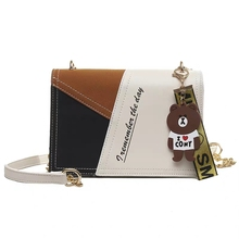 JUILE Fashion Contrast Color Women Messenger Bag Ladies Travel Handbag New Lady Bear Decoration Shoulder Small Square