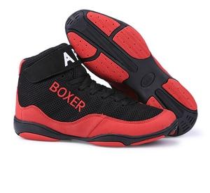Bóxer profesional de lucha de boxeo para hombre, zapatos de levantamiento de pesas, botas de combate de entrenamiento de boxeo usable suave transpirable