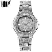 Mens Iced Out Watches Luxury Date Quartz Wrist Watches With Micropave CZ Stainless Steel Watch For Women Men Hip Hop Jewelry aigo 209 bluetooth 4 0 portable hd lossless mp3 player multifunction audio movement sport music tf card 32gb