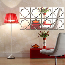 Mirror Wall Sticker Square Living Room Bedroom Background Art Deco Wall Sticker cheap Plane Wall Sticker Modern For Wall Waterproof Wall Stickers