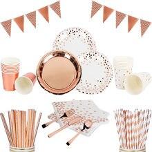 Różowe złoto szampana jednorazowe zastawy stołowe dla dorosłych dekoracje na przyjęcie urodzinowe papierowe serwetki talerze zestawy Party Baby Shower Wedding Decor