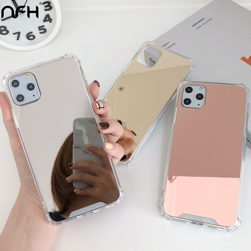 For <font><b>iPhone</b></font> 11 Luxury Shockproof <font><b>Makeup</b></font> Mirror Phone <font><b>Case</b></font> For <font><b>iPhone</b></font> XR XS 11 Pro Max Clean Silicon Bumper on 6 <font><b>6S</b></font> 7 8 <font><b>Plus</b></font> Cover image