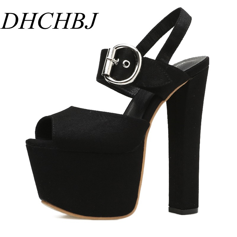 2019 summer new <font><b>17</b></font> <font><b>cm</b></font> thick with <font><b>high</b></font> <font><b>heels</b></font> fashion platform sandals model catwalk super <font><b>high</b></font> <font><b>heel</b></font> women sandals image