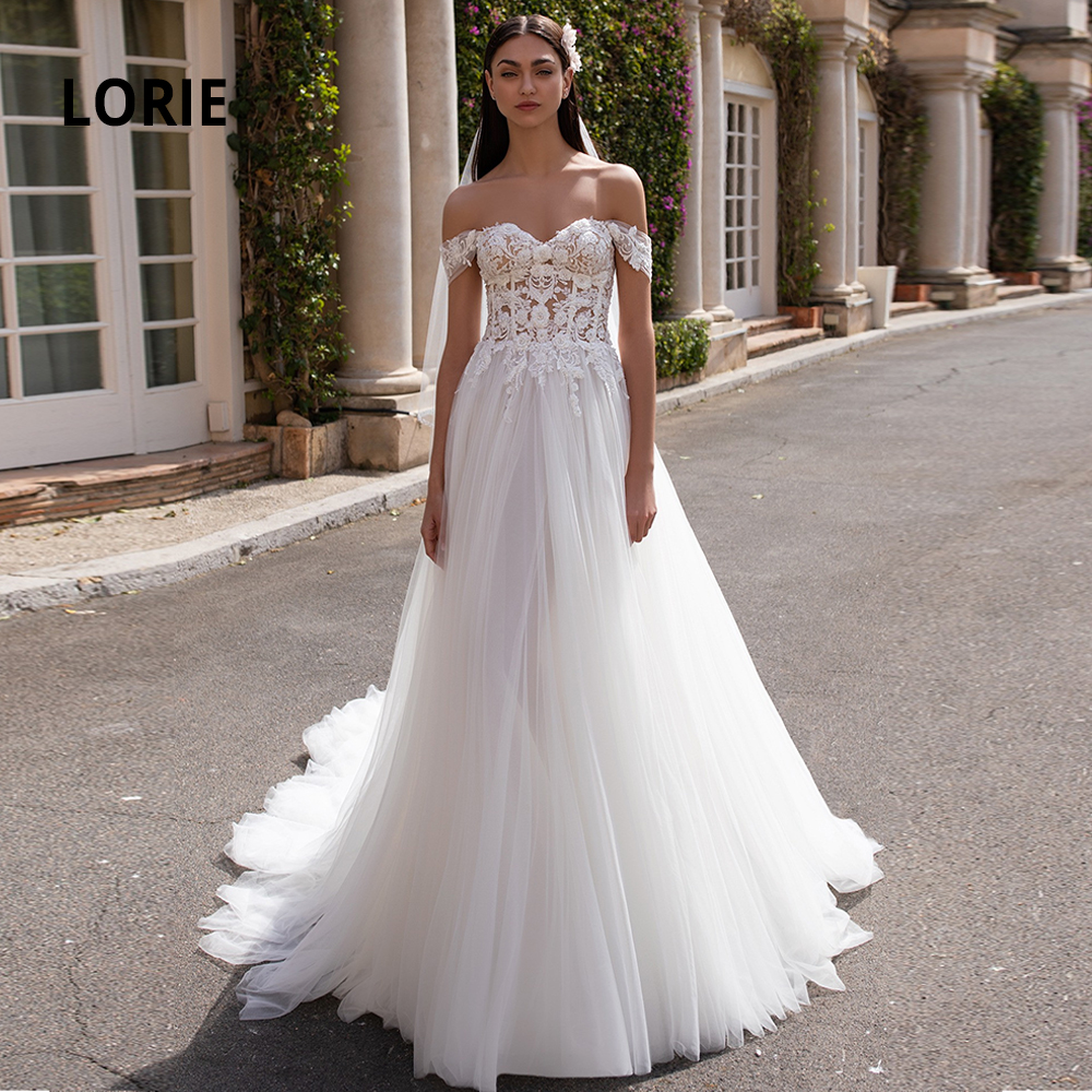 LORIE Off The Shoulder Elegant Lace Appliqued With Beaded Wedding Dresses Boho 2020 Tulle Sleeveless Backless Beach Bridal Gowns