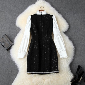 Image 2 - Lange ärmeln Nagel wulst kleid xl 2019 neue Überlegene qualität Frauen damen sexy hemd Party Kleid Prominente Halten warme kleider