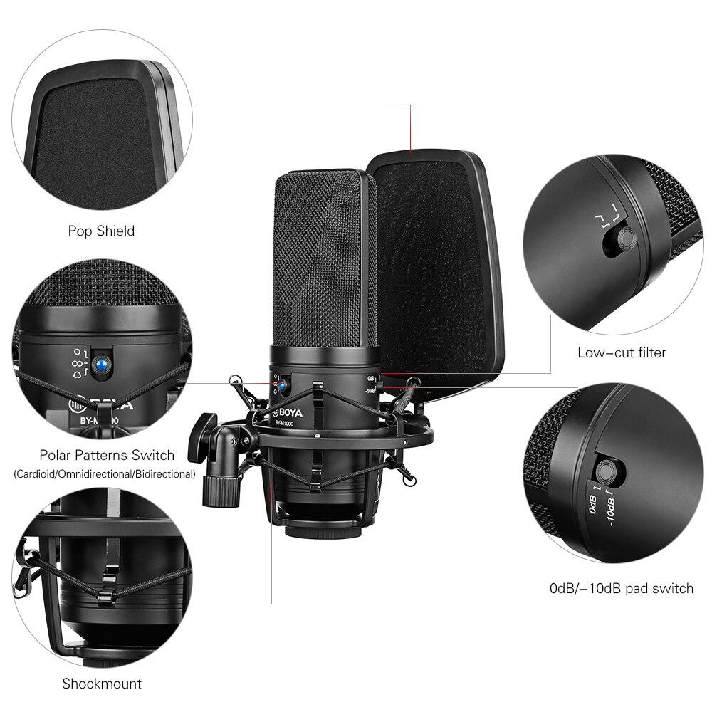 baixo-corte filtro cardióide condensador mic para gravação ao vivo vlog estúdio de vídeo