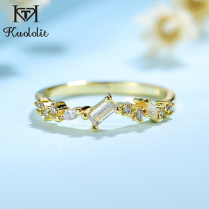 Image 1 - Kuololit 100% Moissanite 10K Yellow Gold Rings for Women emerald cutting Gemstone Ring for Engagement Wedding Bride anniversary